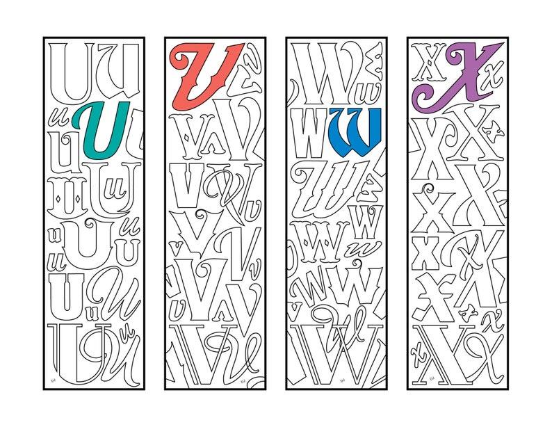 U, V, W, X - Monogram Alphabet Letter Bookmarks - PDF Zentangle Coloring  Page