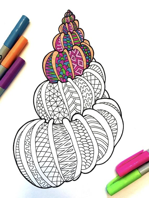 Seashell 2  PDF Zentangle Coloring Page