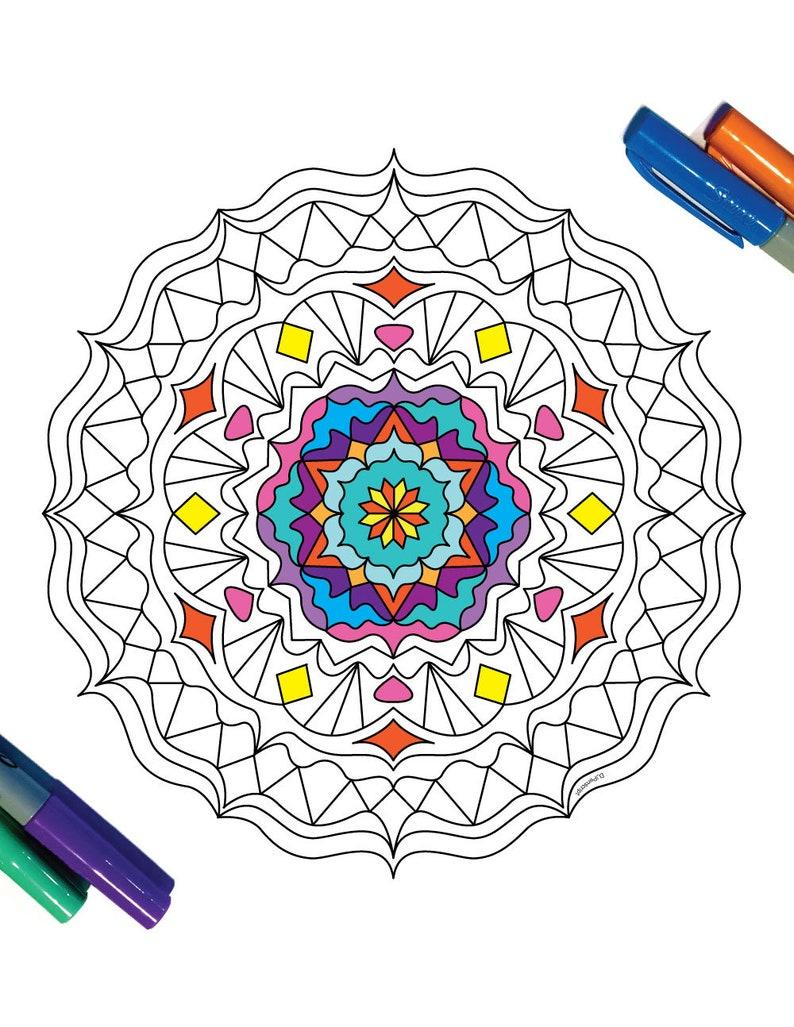Wavy Mandala Pdf Zentangle Coloring Page