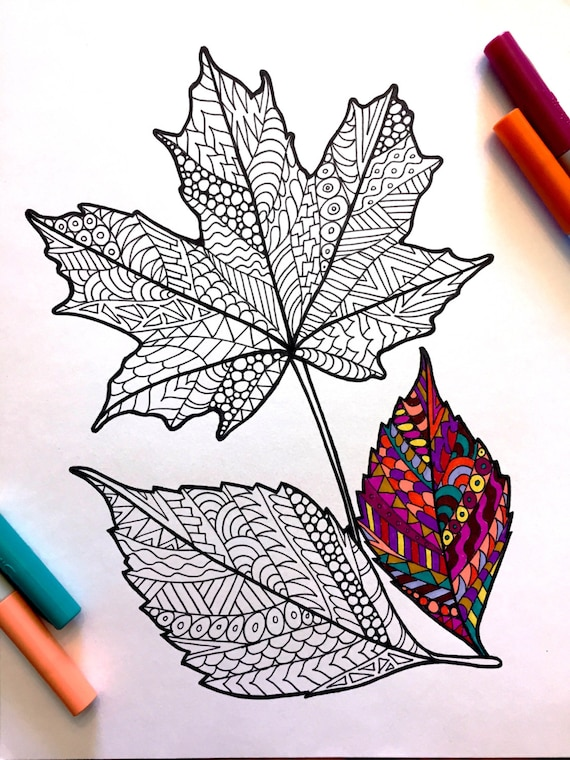 Fall Leaves  PDF Coloring Page