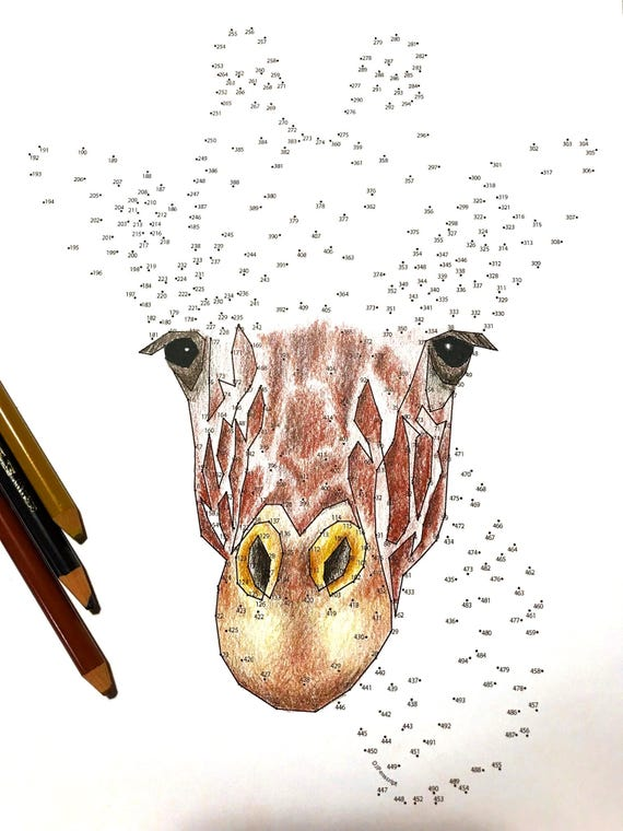 Giraffe Extreme Dot To Dot PDF Activity And Coloring Page Etsy