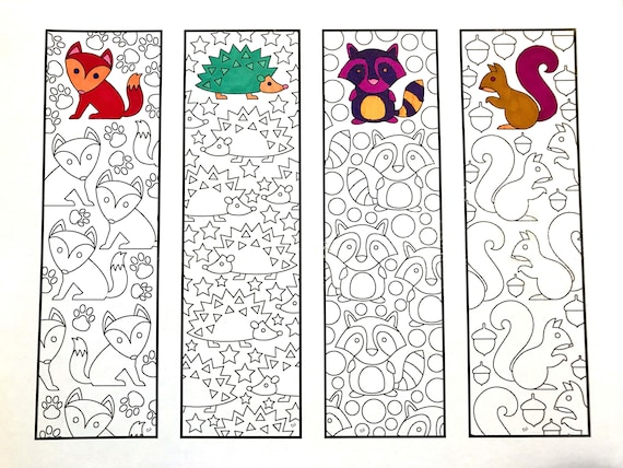 Cute Animal Bookmarks PDF Zentangle Coloring Page Etsy