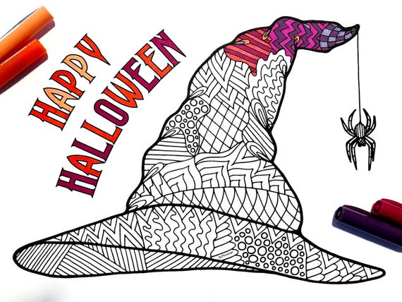 Witch Hat Pdf Zentangle Coloring Page Etsy