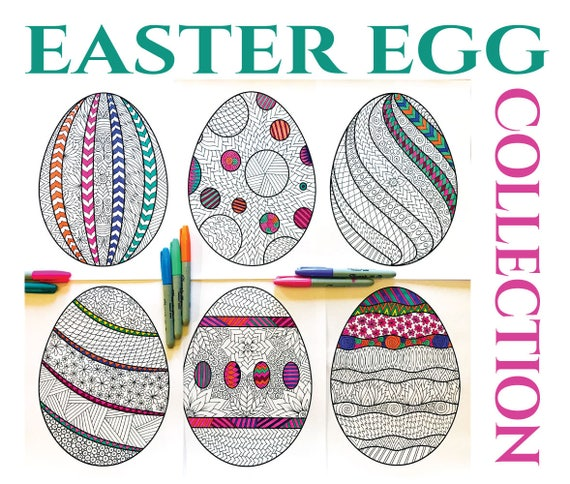 Easter Egg Collection  PDF Zentangle Coloring Pages