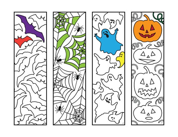 Halloween Bookmarks Pdf Zentangle Coloring Page Etsy