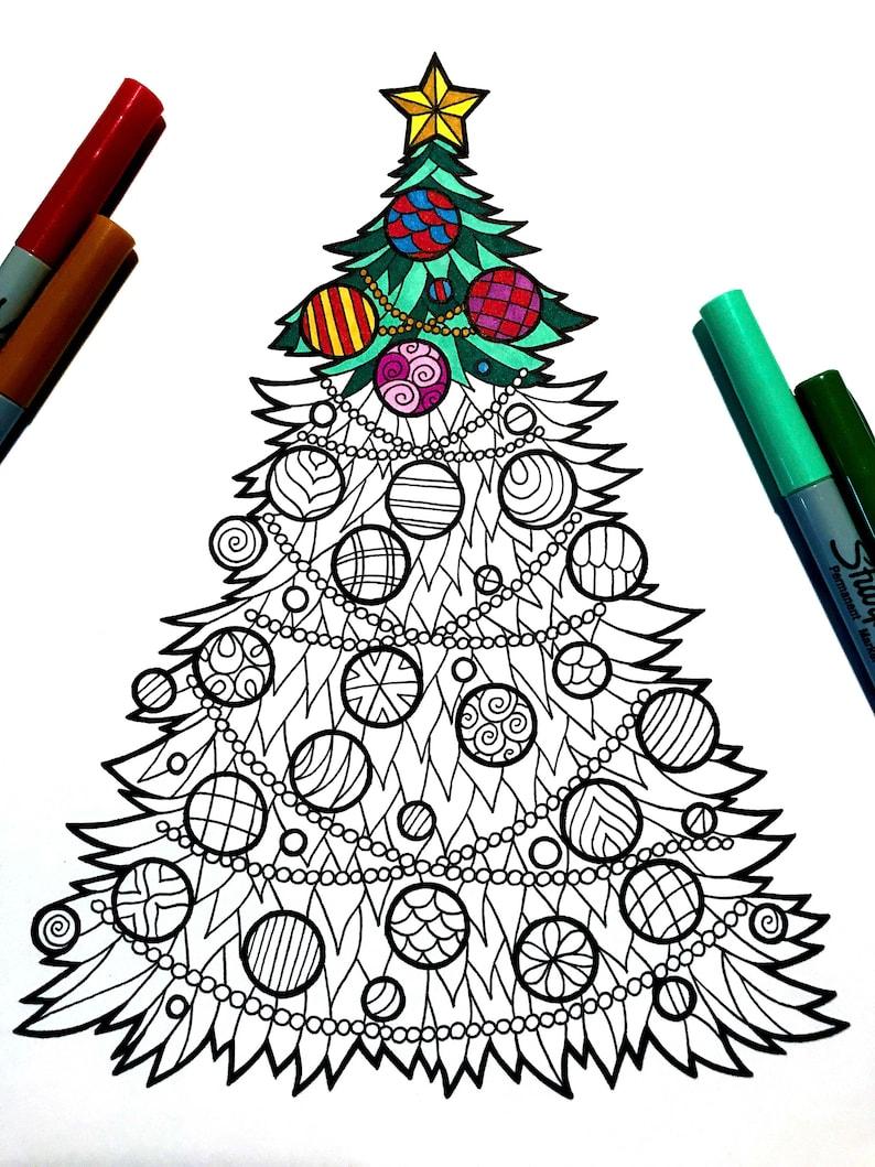 Christmas Tree   PDF Zentangle Coloring Page