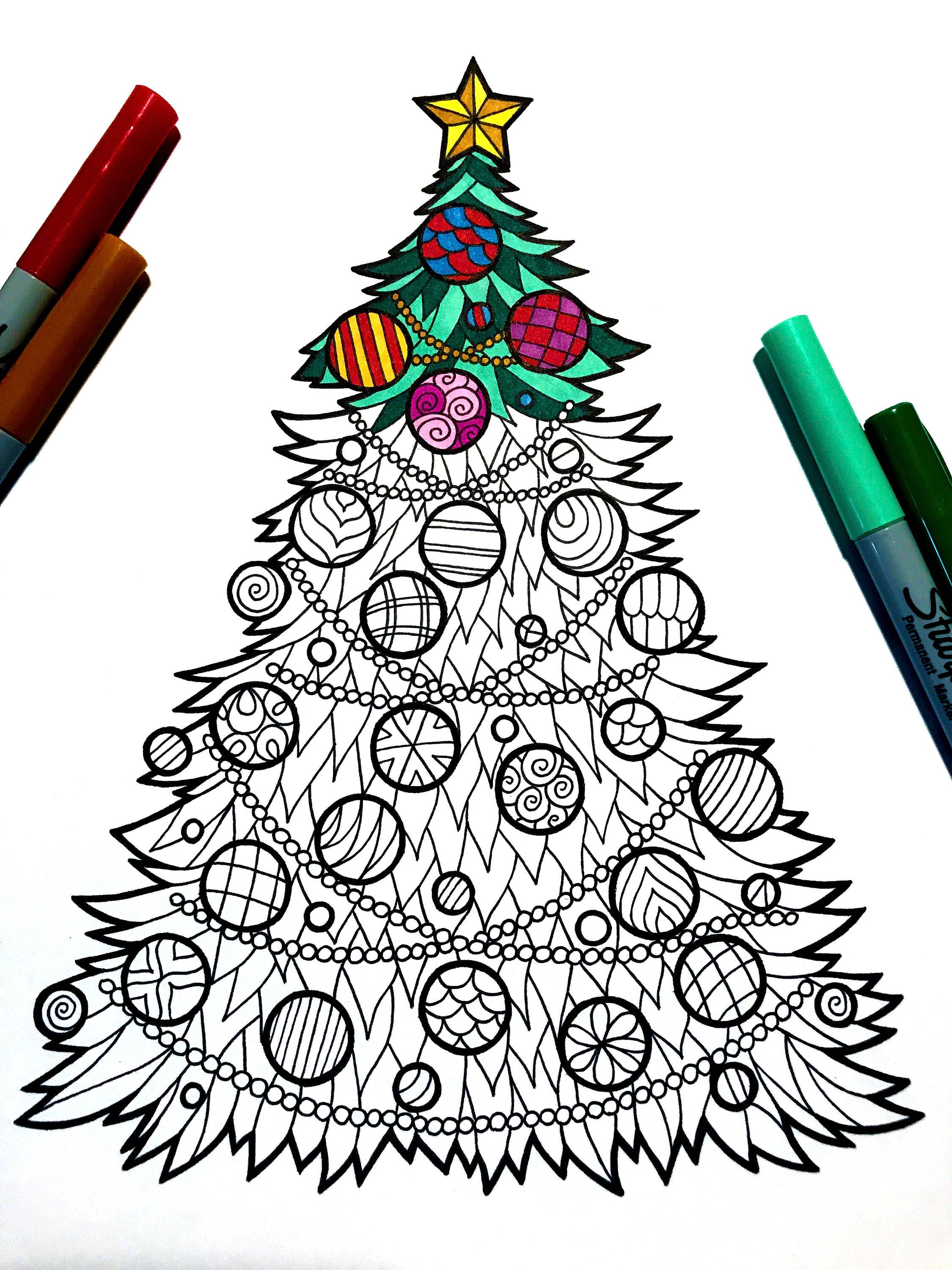 christmas tree pdf zentangle coloring page etsy
