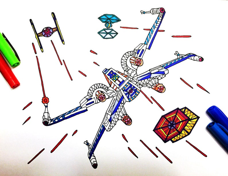 X Wing Fighter Pdf Zentangle Coloring Page Etsy