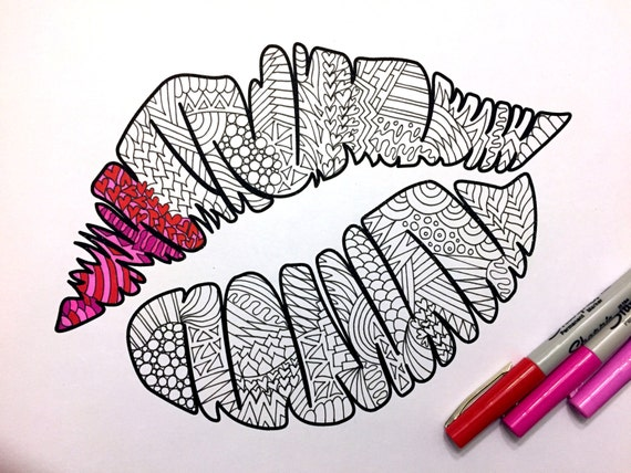 Kiss Mark PDF Zentangle Coloring Page