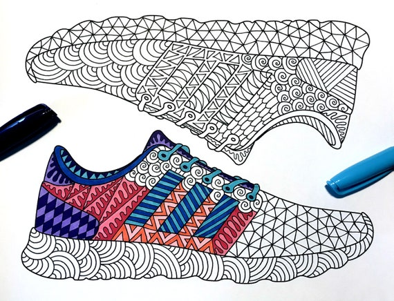 Sneakers Shoes Pdf Coloring Page Etsy