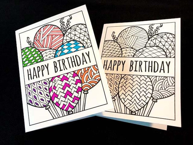 Happy Birthday Card With Balloons PDF Zentangle Coloring