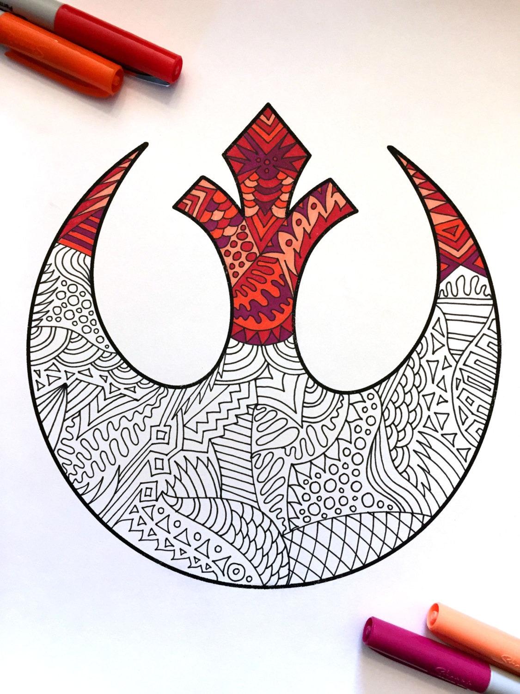 Rebel Alliance Star Wars Symbol Pdf Zentangle Coloring Page Etsy