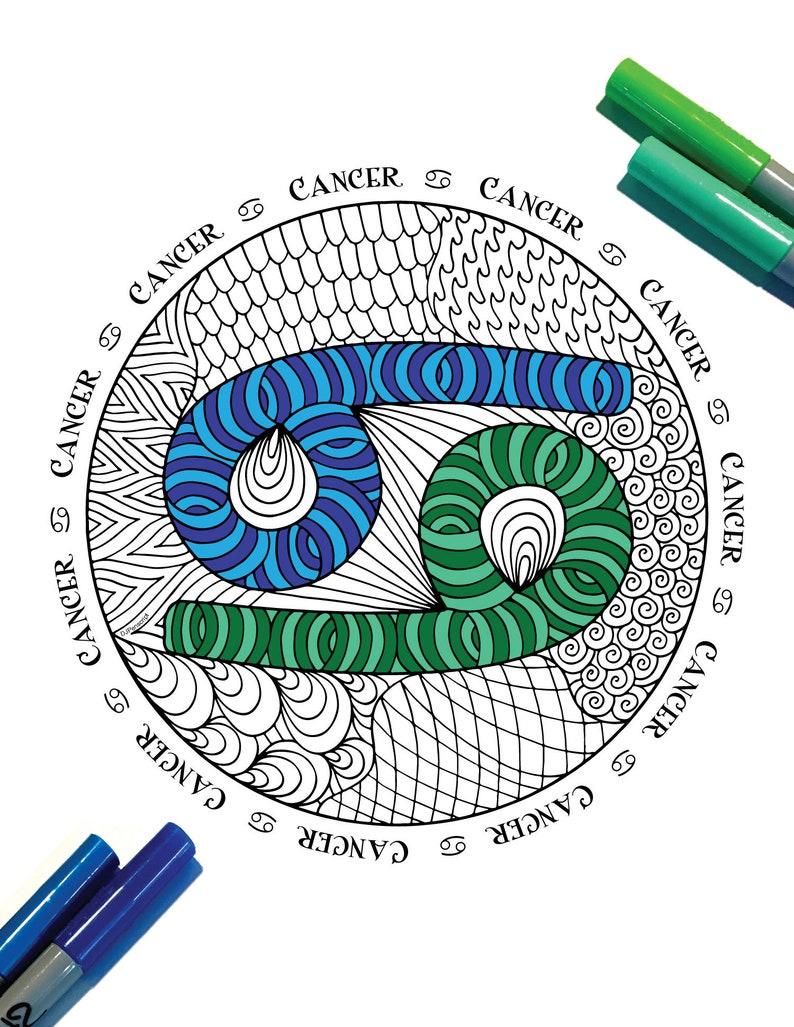 Cancer Zodiac Symbol PDF Zentangle Coloring Page