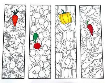 Vegetable Bookmarks - PDF Zentangle Coloring Page