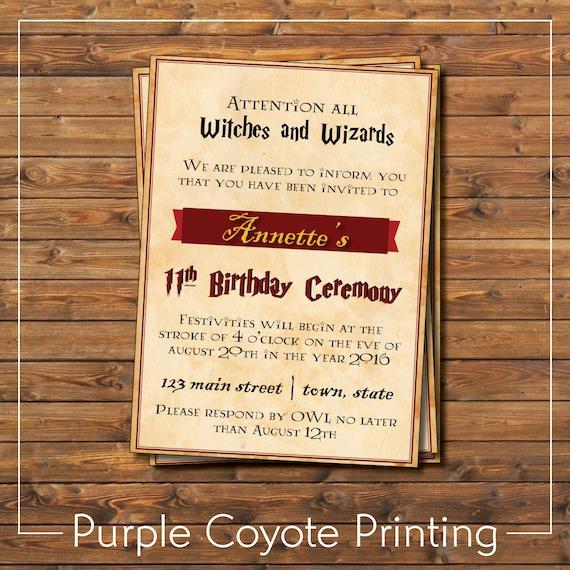 harry potter birthday party invitation gryffindor inspired etsy