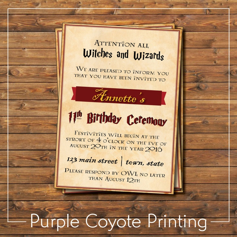 Harry Potter Birthday Party Invitation Gryffindor Inspired