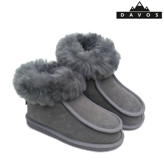 New Ladies Women/'s Premium 100/% Pure Twinface Sheepskin Boots Slippers EVA Sole