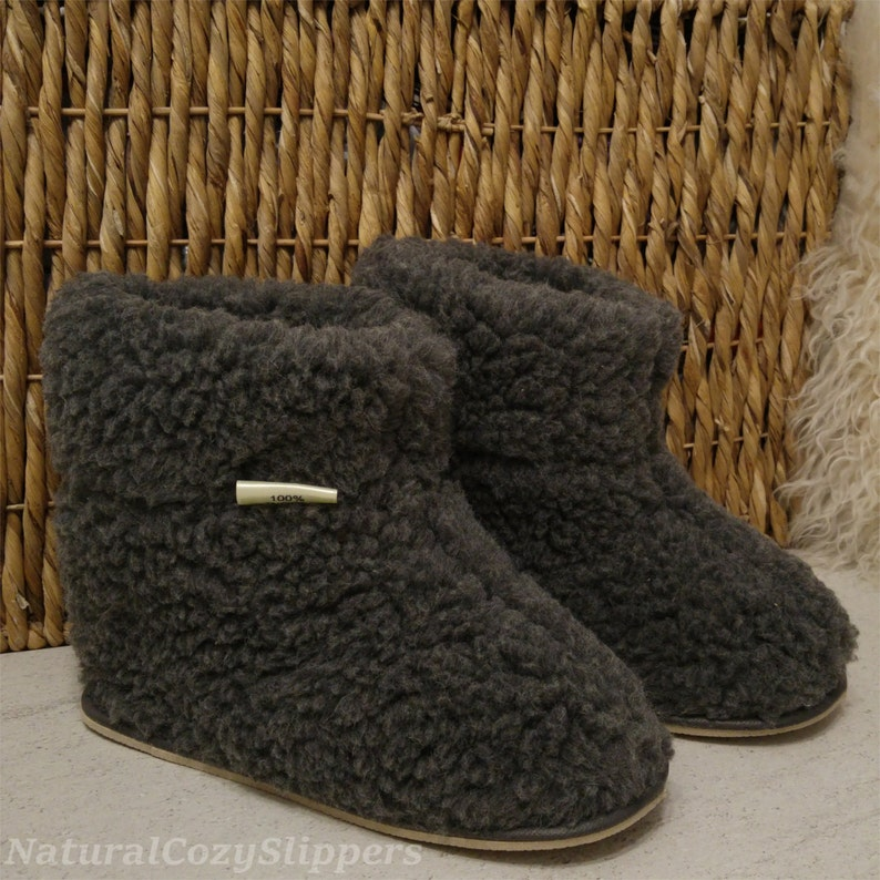 68de71febd26 100% Natural Sheep Wool Boots Cozy Foot Slippers with Hard