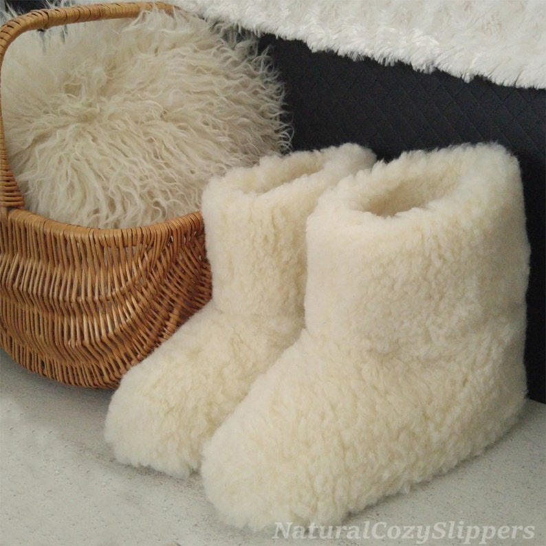 f32614157e92d Natural Sheep Wool Boots Cozy Foot Slippers Sheepskin Womens image 0