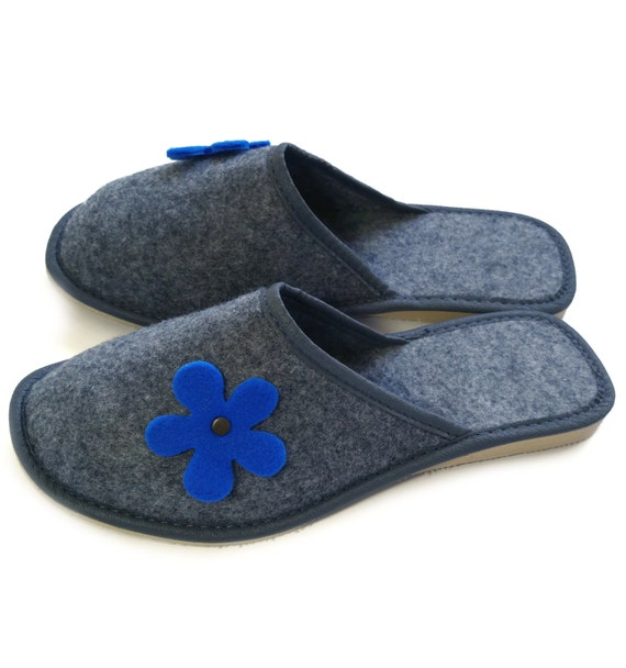 Indoor Shoes Floral Design Ladies Womens Soft Felt Slip On Mules Slippers