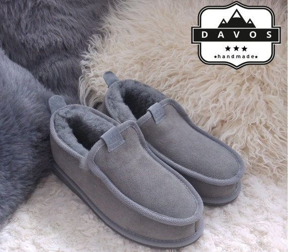 New Grey High Quality Deluxe Women/'sGenuine Sheepskin Suede Slippers Hard Sole