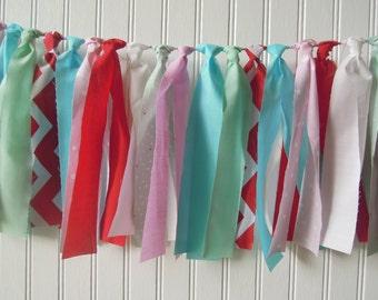 Pink Back Drop Fabric Banner Rag Tie Photo Shoot Nursery Bunting Birthday Aqua Mint Shower Cake Smash Red Highchair