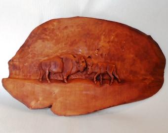 Buffalo, Bison wood carving (bfloplk11)