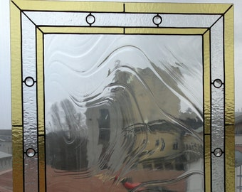 Stained Glass curtains with Crystal, Stained Glass Transom Window, Mission Style in Clear Textures, privacy drapes Panel textured glass
