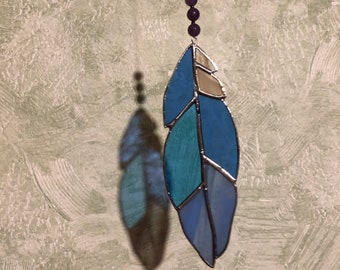 Turquoise Feather Suncatcher  Feather Stained Glass  Window Hangings  Suncatcher for outdoor  Feng Shui Decor  Birthday Gift