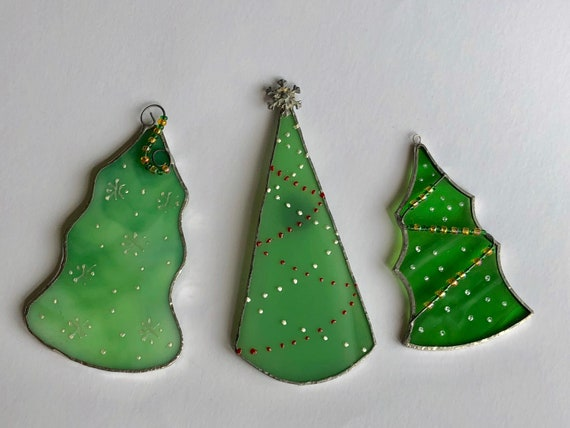 Stained Glass Christmas Tree Ornaments Christmas Hanging Etsy