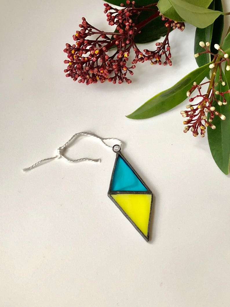 Stained Glass Pendnat Aqua Stained Glass Necklace Rhomb Stained Glass window art Suncatcher window Design Handcrafted Glass Sun Catcher