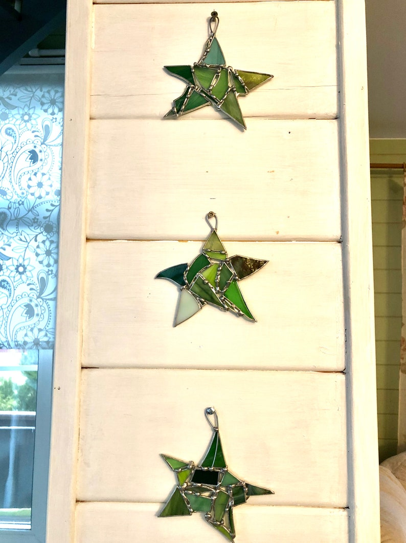 Star snowflake decoration ornament Window or wall hanging Custom Stained glass Green suncatcher  Gift for mom 5 point star garden decor