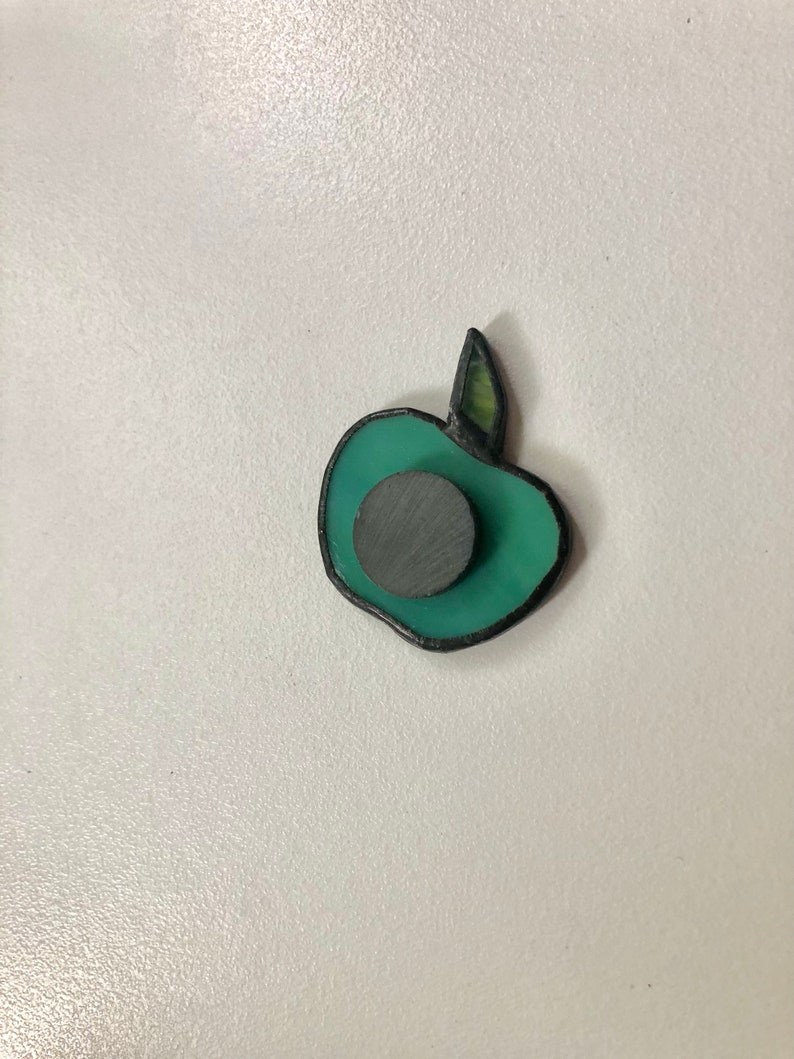 Stain Glass Apple refregerator Magnet Magnetic green fruit Decor Classroom Magnet Creative Gift idea Trendy Magnet Locker Magnet Green apple