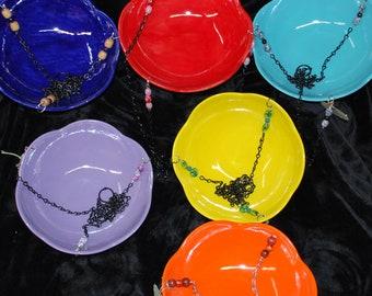 Brighten The World. Bird Bath / Bird Feeder Handmade Pottery Custom made to order - Pick your own color.