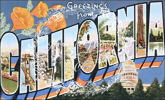 Greetings from california vintage postcard image instant etsy image 0 m4hsunfo