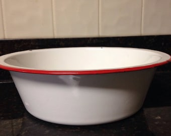 Vintage red and white enamelware bowl