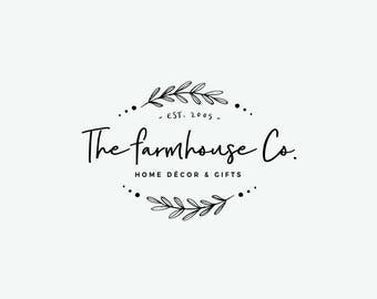 Monochrome logo - Pre made logo - Minimalist design - Clean and stylish - Premade logo design - Photography shops - Laurel leaves wreath