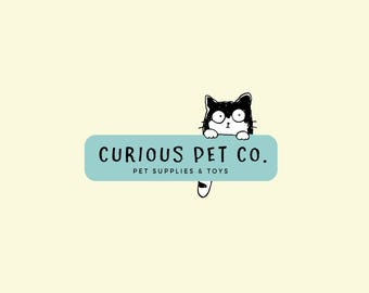 Cat logo design - Pet shop logo - Pet supplies logo - Cat logo design - Blue mint cat logo - Quirky cute - affordable logos - Pet logos