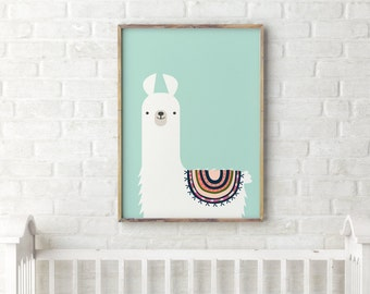 Llama nursery print - Printable gift for children - Kids room decor - Printable art - Cute animal print - Mint pastel color tribal alpaca
