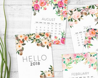 2018 printable calendar - Monthly Wall calendar - Floral 2018 calendar - Watercolor art calendar -  Printable christmas gift - Women gifts