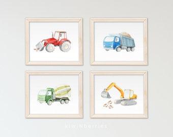 Baby boy nursery - Construction trucks print - Printable artwork for boys - Boys room decor - Trucks print - Construction posters