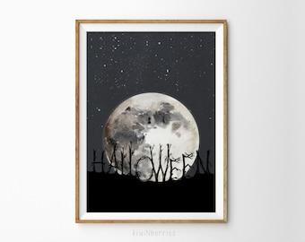 Halloween art prints - Halloween wall art - Halloween decorations -Halloween digital print - Moon and stars print - Halloween decor