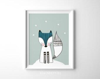 Whimsy fox art print - Whimsical wall art - Sage green art prints - Blue hair girl - Nursery decor - Whimsical prints - Baby girl gift
