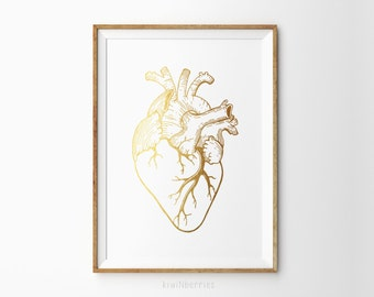 Anatomy heart print - Anatomical heart print - Anatomical Print - Medical Poster - gift for doctors - Gold anatomical heart - Printable