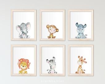 Printable Safari Animals, Kids Room Wall Art, Kids Wall Art, Printable Art,  Animal Print, Boys Room Wall Art, Gender Neutral, Printables