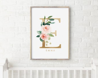 Boho nursery name, Baby shower gift, Baby girl wall art, Personalized prints, Blush pink and gold, Floral initial pint - Custom name art