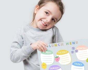Kids lunch planner - Lunch Menu for kids - Printable planner - Children lunch planner - Printable weekly planner - School lunch menu