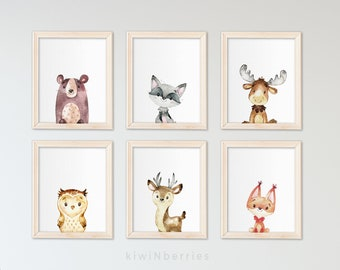 Gender neutral nursery art - Baby shower gift - Nursery art set - Nursery prints - Nursery posters - Woodland animals - Watercolor wall art