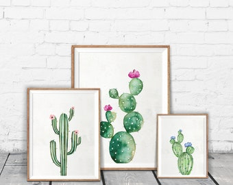Set of 3 watercolor cactus print - Cactus art print - Gallery wall cactus print set - Digital cactus artwork - Printable cactus wall art