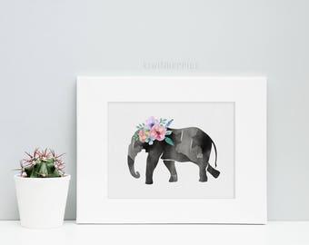 Printable elephant art - Gallery wall prints - Watercolor elephant print - Floral watercolor art  - Wildlife prints - Printable women gift
